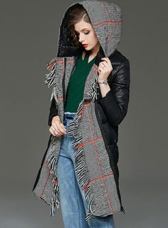 Hooded Fringed Plaid Patchwork Puffer Coat