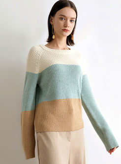 Color-blocked O-neck Loose Pullover Sweater