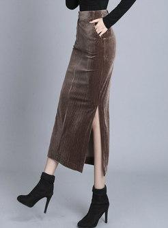 High Waisted Bodycon Split Skirt