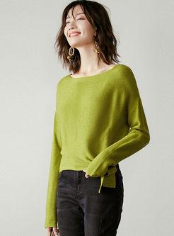 O-neck Bat Sleeve Bowknot Waist Sweater