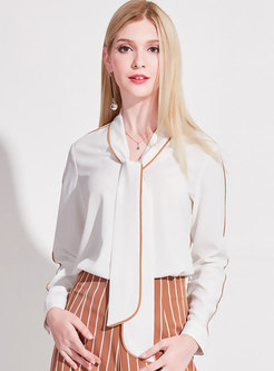 Work Color-blocked Pullover Chiffon Blouse
