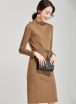 Solid Color Stand Collar Slim Sweater Dress