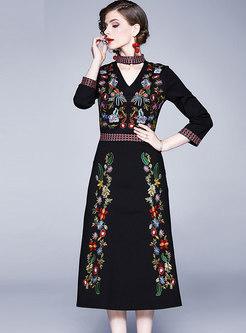 Retro V-neck Embroidered A Line Dress