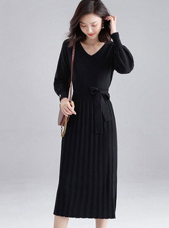 Solid Color Pleated Waist A Line Dress