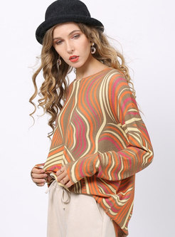 Casual Bat Sleeve Print Loose Pullover Sweater