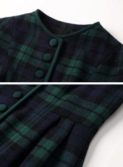 Green Plaid Long Sleeve A Line Dress