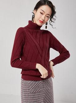 Solid Color Turtleneck Pullover Slim Sweater