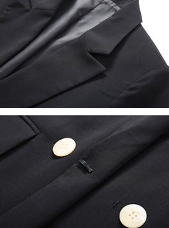 Work Notched Long Sleeve Loose Blazer