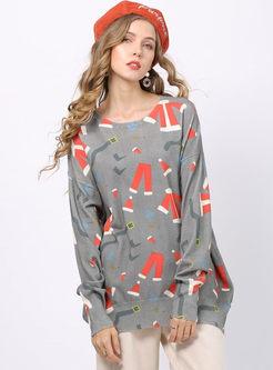 Fashion Christmas Print Loose Sweater