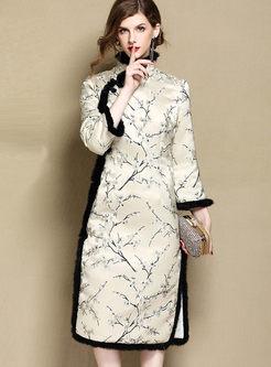Retro Mandarin Collar Jacquard Shift Dress