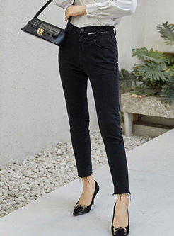 Black High Waisted Slim Pencil Pants