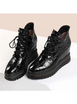 Trendy Black Platform Short Boots