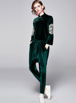 Retro Fashion Embroidered Velvet Two Piece Pants Suits