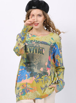 Casual Print Pullover Loose Sweater