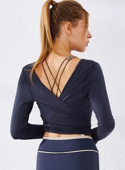 O-neck Backless Long Sleeve Yoga Top
