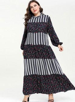 Plus Size Stripe Patchwork Floral Dress