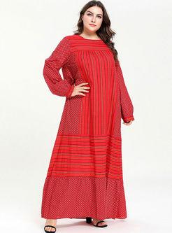 Square Neck Stripe Print Plus Size Dress