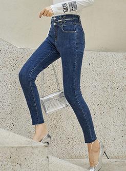 Blue Denim Slim Pencil Pants