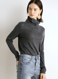 Solid Color Turtleneck Slim Thin Sweater