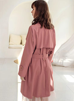 Pink Notched Long Sleeve Trench Coat