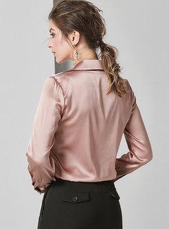 V-neck Sucking Pullover Silk Blouse