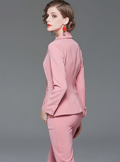 Pink Slim Blazer Pant Suits