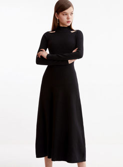 Half Turtleneck Open Shoulder Sweater Dress