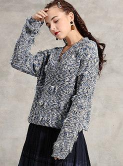 Retro V-neck Tassel Loose Pullover Sweater