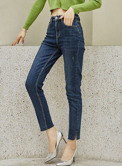 High Waisted Denim Slim Skinny Pants