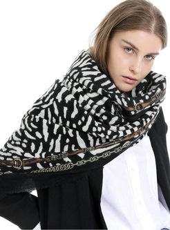 Casual Leopard Print Fringed Scarf