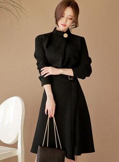 Mock Neck Long Sleeve A Line Dress