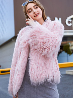 Fashion O-neck Straight Fur Coat