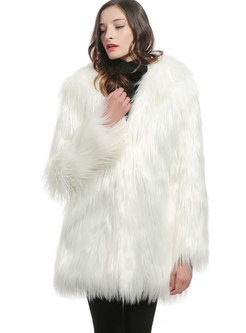 O-neck Straight Loose Fur Coat