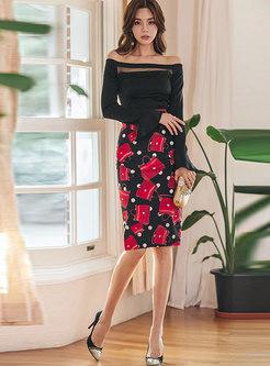 Sexy Slash Collar Slim Top & Print Bodycon Skirt