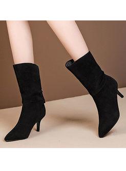 Pointed Head Thin Heel Mid Boots