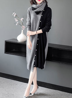 V-neck Asymmetric Patchwork Sweater Dress
