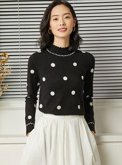 Standing Collar Dot Slim Pullover Sweater