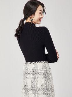 Brief Solid Color Half Turtleneck Sweater
