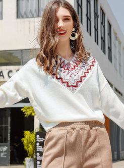 V-neck Letter Print Pullover Sweater