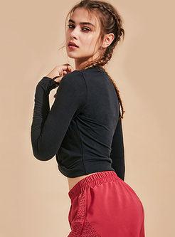 O-neck Long Sleeve Slim Yoga Top