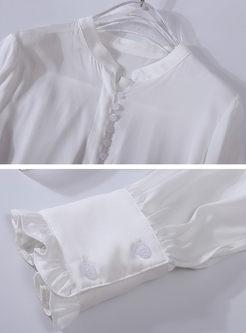 White Mock Neck Single-breasted Silk Blouse