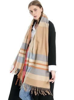 Casual Faux Cashmere Fringed Scarf