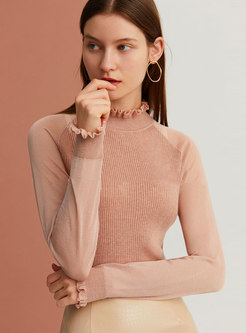Solid Color Stand Collar Slim Sweater