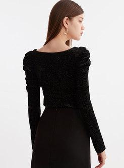 Puff Sleeve Slim Pullover Velvet T-shirt