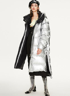 Stand Collar Loose Hooded Shift Puffer Coat