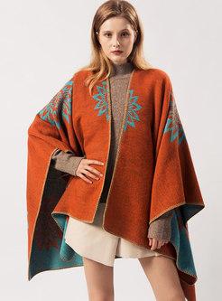 Retro Color-blocked Jacquard Cloak Scarf