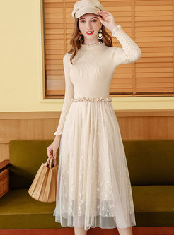 Sweet Mesh Patchwork A Line Sweater Dress