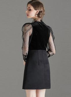 Mesh Patchwork Perspective Mini A Line Dress