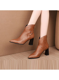 High Heel Pointed Head Plaid Leather Short Boots