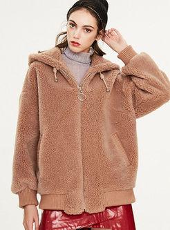 Hooded Long Sleeve Teddy Bear Jacket